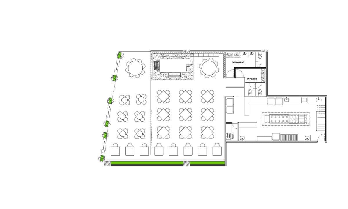 a planta baixa  —  a área é de 200.00 m2