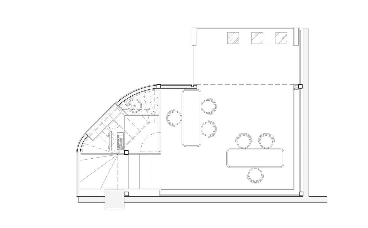 a planta baixa  —  a área é de 20.00 m2