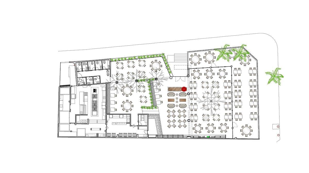 a planta baixa  —  a área é de 720.00  m2
