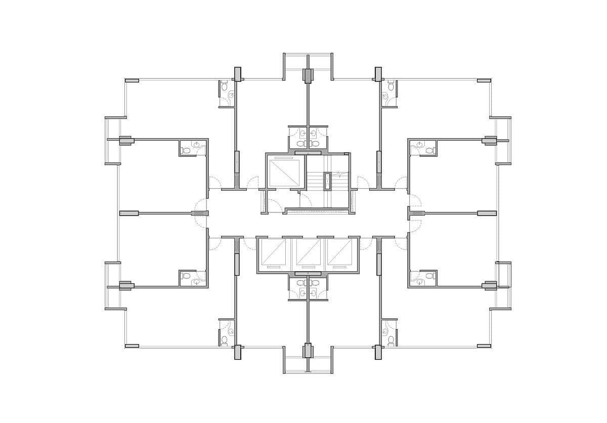 a planta baixa original  —  a área é de 495.00 m2, apresentado doze salas comerciais autônomas