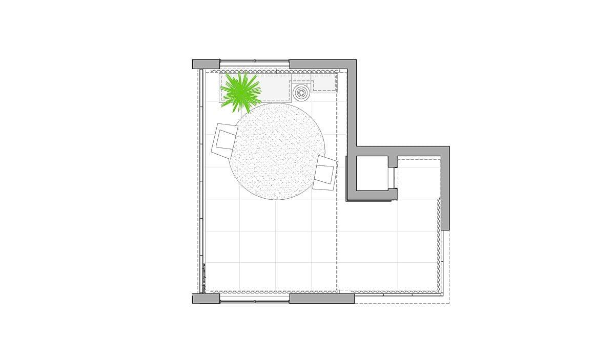 a planta baixa  |  a área é de 72.00 m2