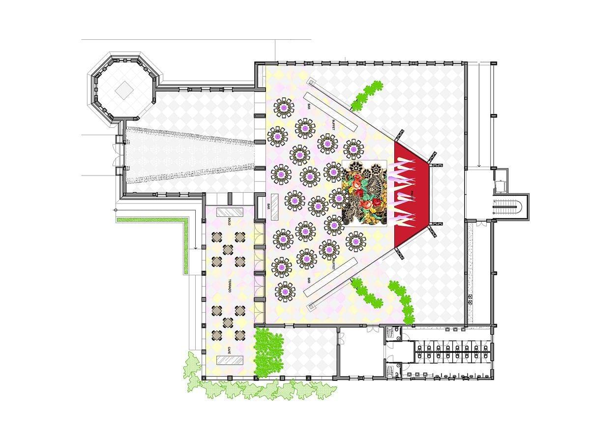 a planta baixa  —  a área é de 640.00 m2