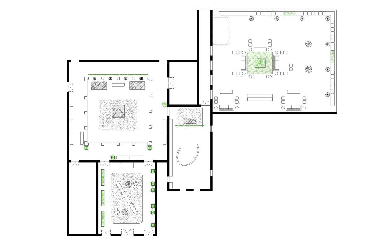 a planta baixa  —  a área é de 400.00 m2