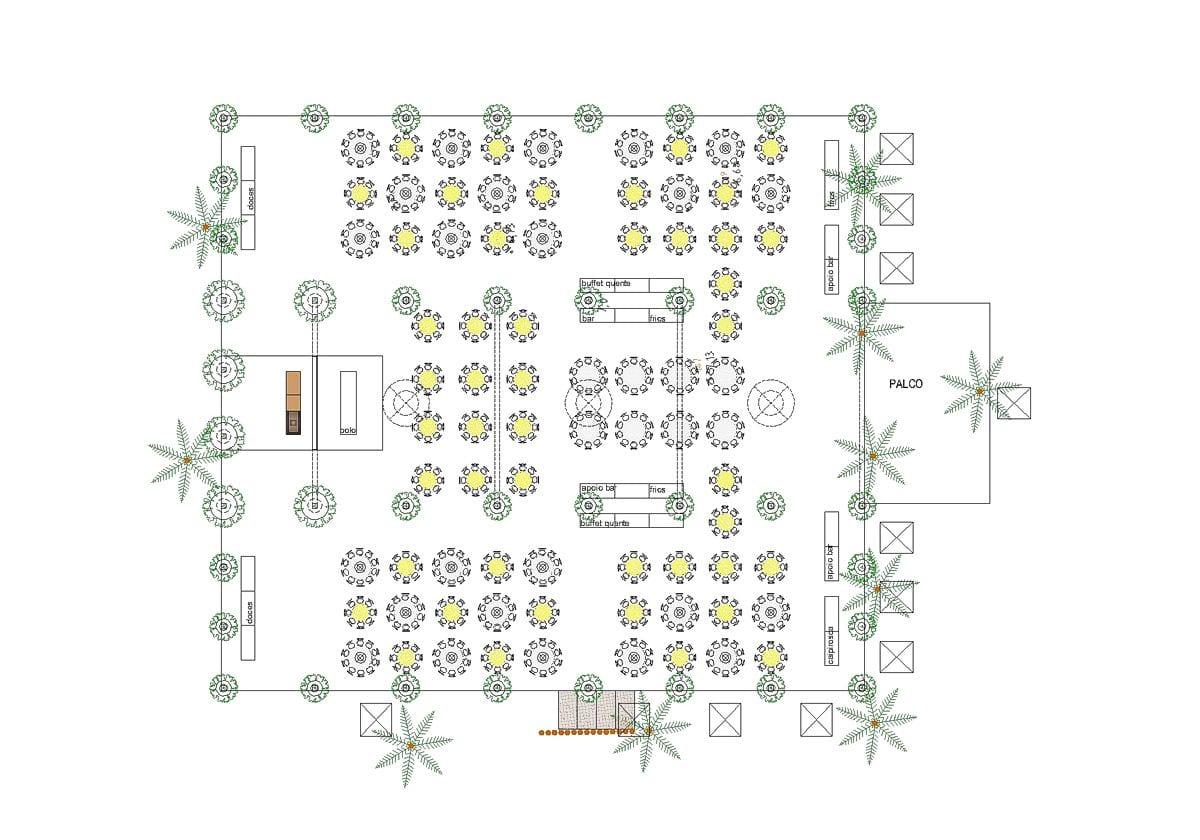 a planta baixa  —  a estrutura para festa