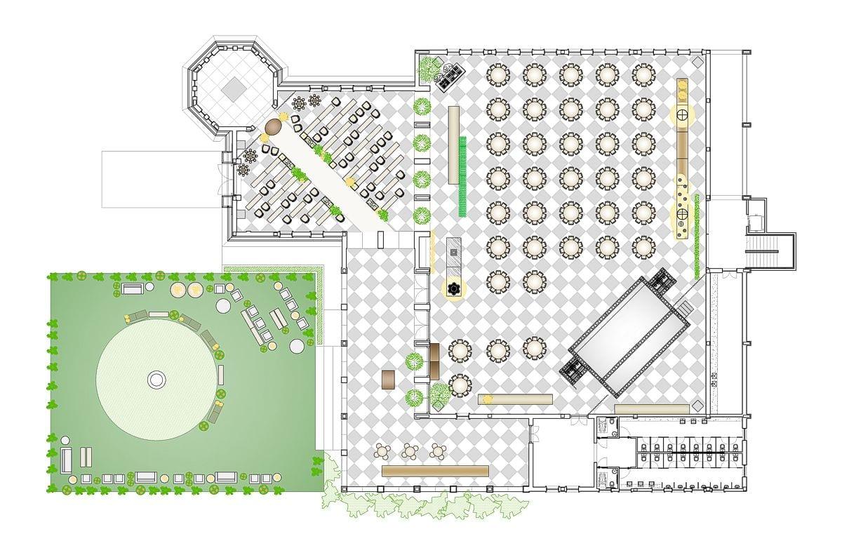a planta baixa  —  a área é de 1500.00 m2