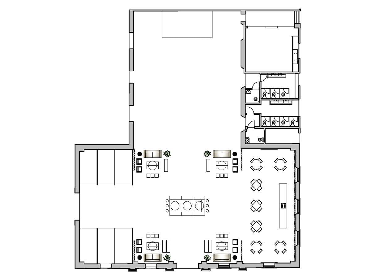 a planta baixa  —  a área é de 520.00 m2