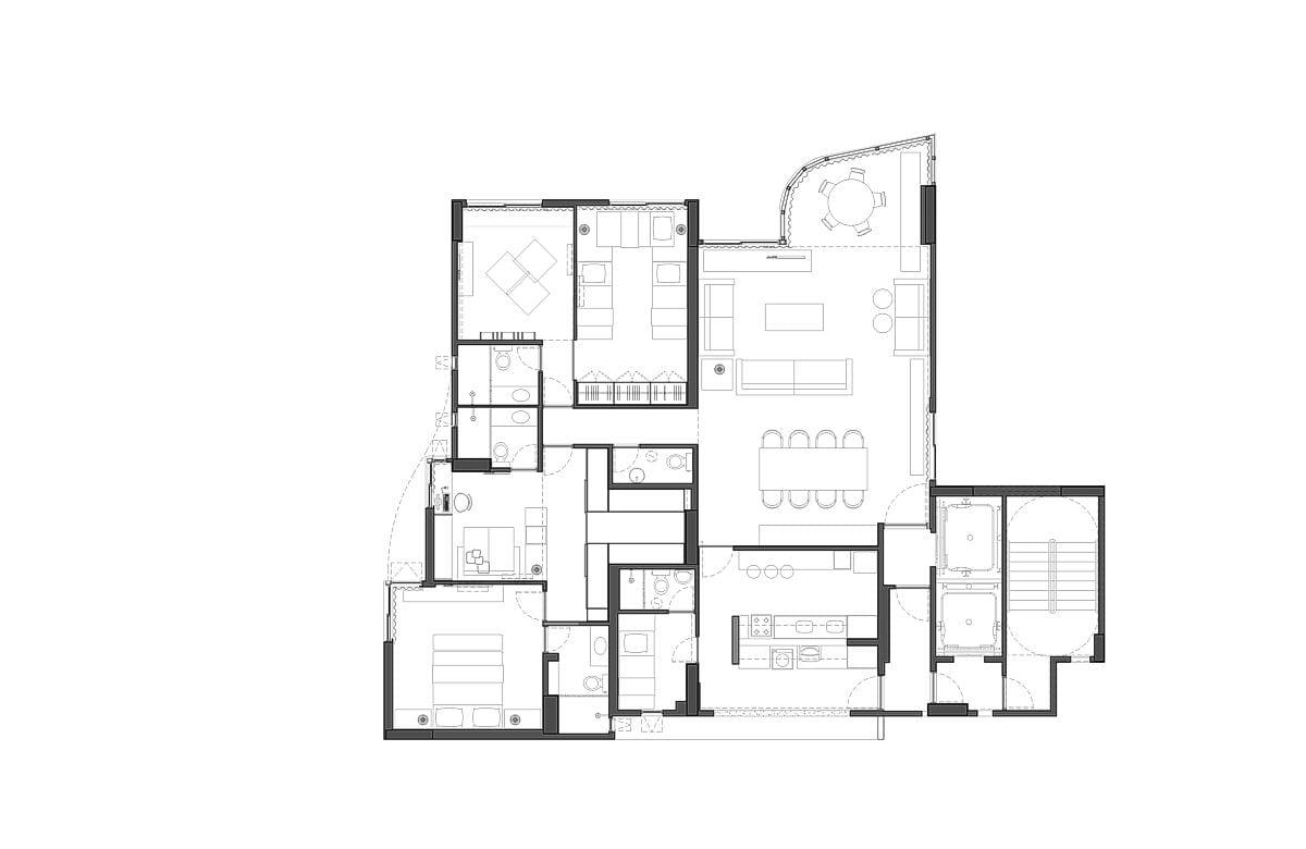 a planta baixa  —  a área é de 174.00 m2