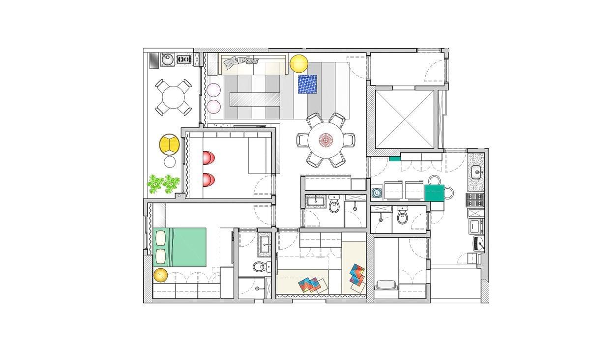 a planta baixa  —  a área é de 95.00 m2