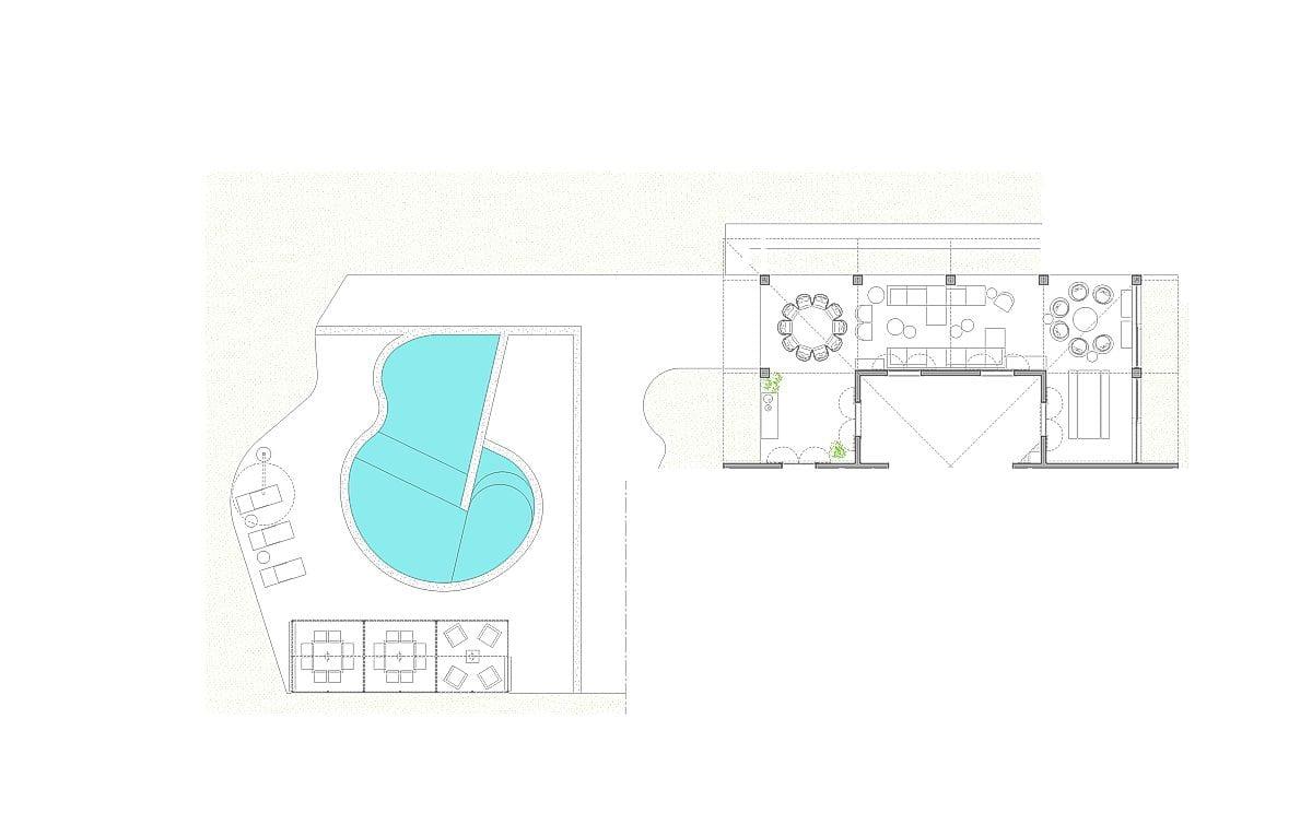 a planta baixa  —  a área externa e o terraço apresentam 200.00 m2