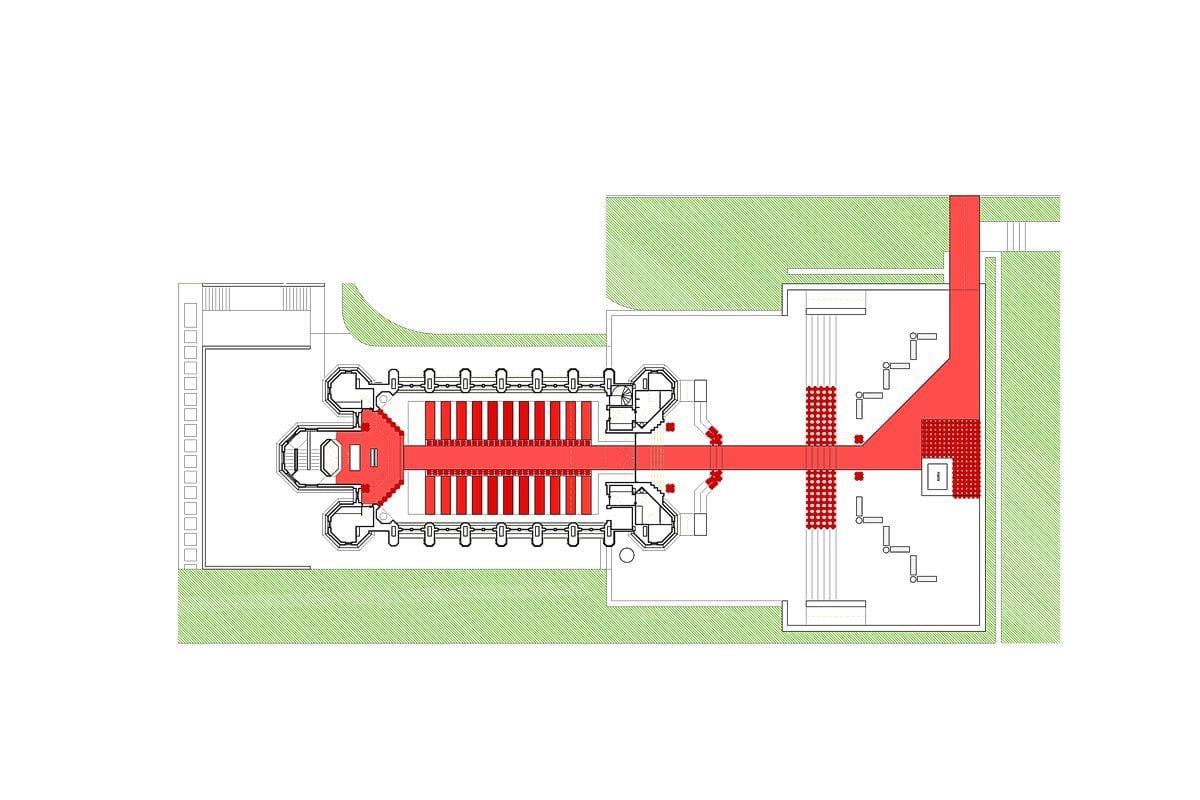 a planta baixa da capela  —  a área é de 445.00 m2