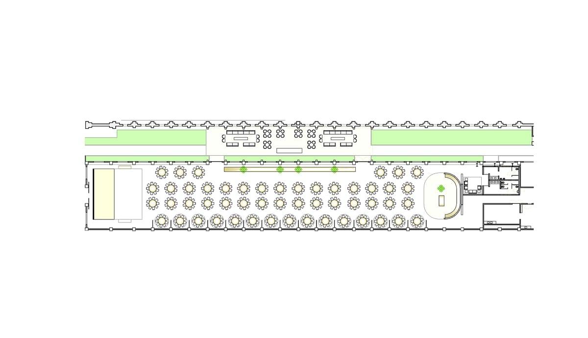 a planta baixa da Galeria  —  a área é de 1400.00 m2
