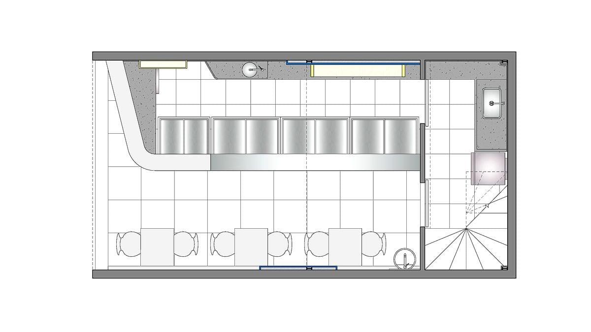 a planta baixa  —  a área é de 45.00 m2