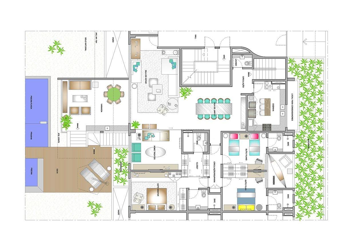 a planta baixa  —  a área é de 445.00 m2