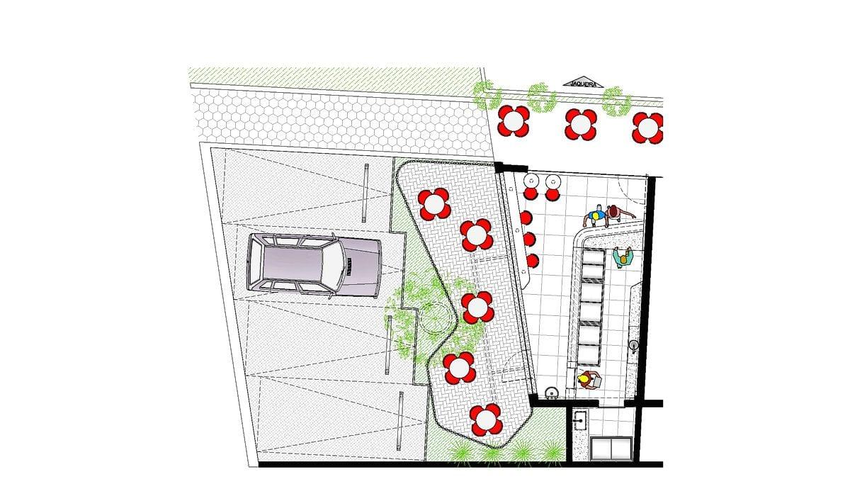a planta baixa  —  a área é de 50.00 m2