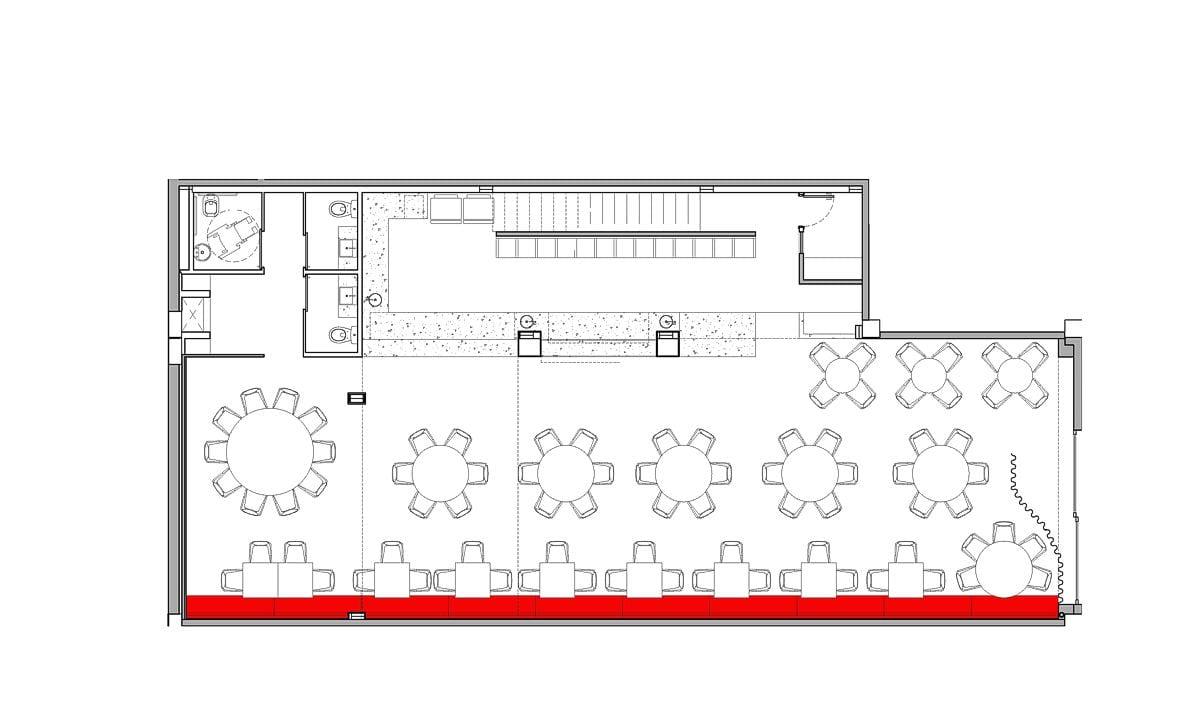 a planta baixa  —  a área é de 260.00 m2