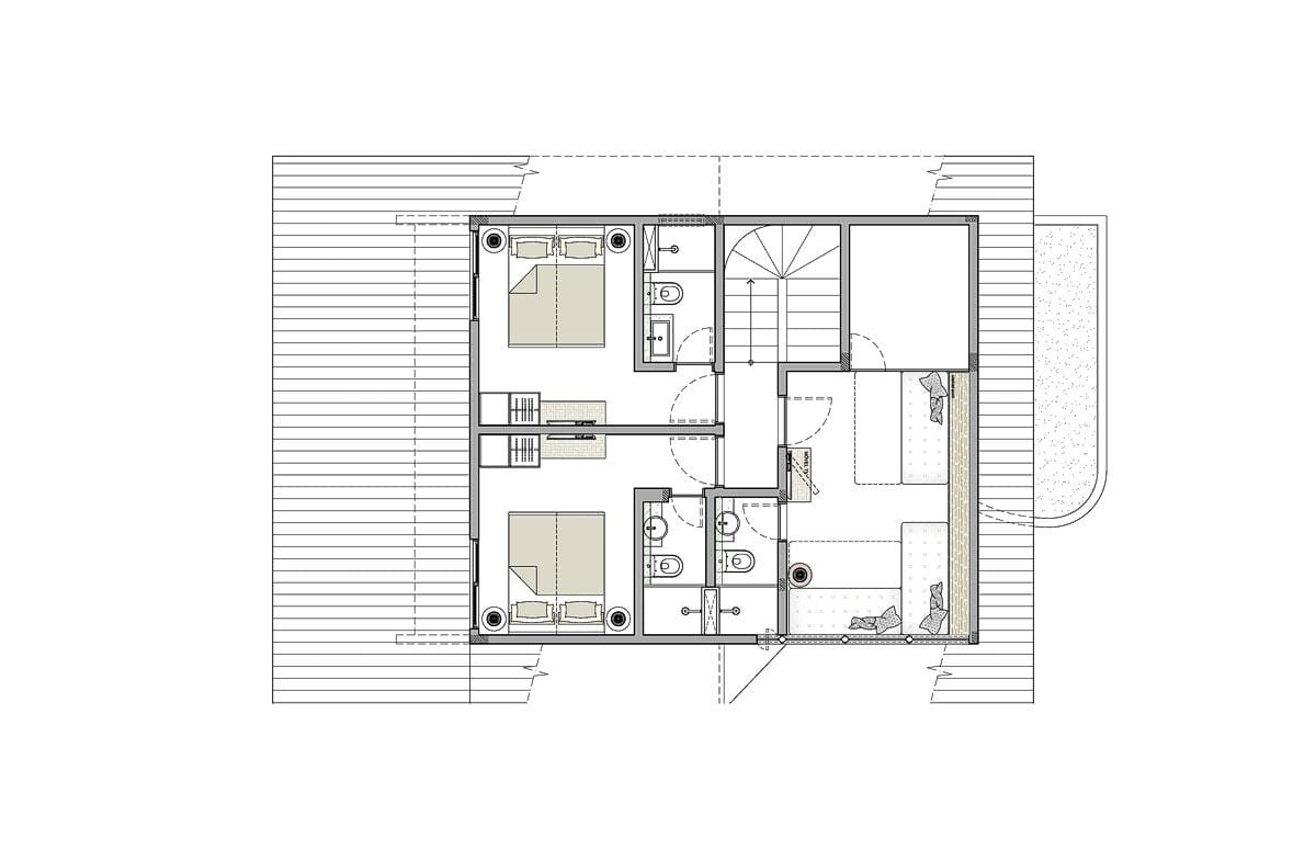 a planta baixa do primeiro andar  —  após das obras