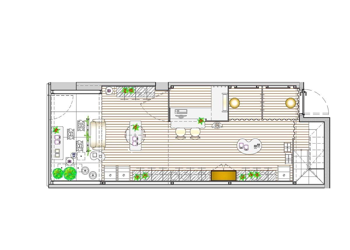 a planta baixa alterada  —  a área é de 40.00 m2
