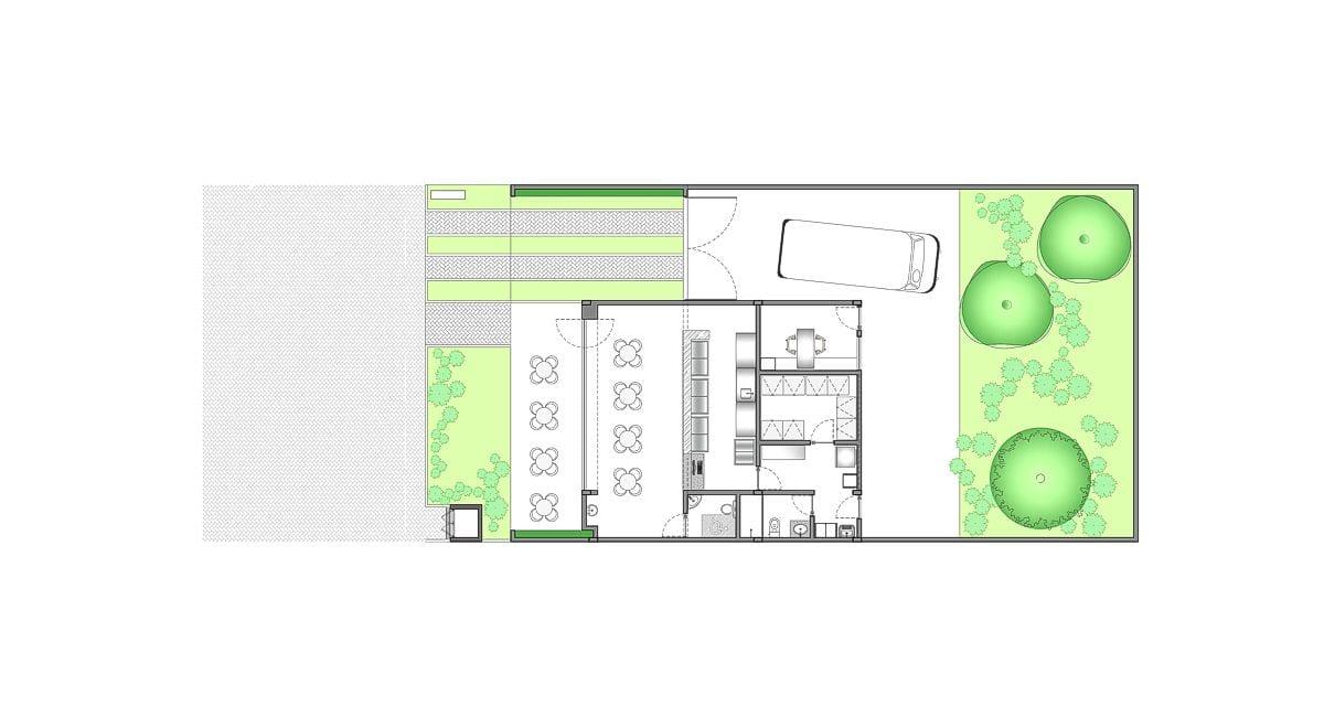 a planta baixa  —  a área é de 140.00 m2
