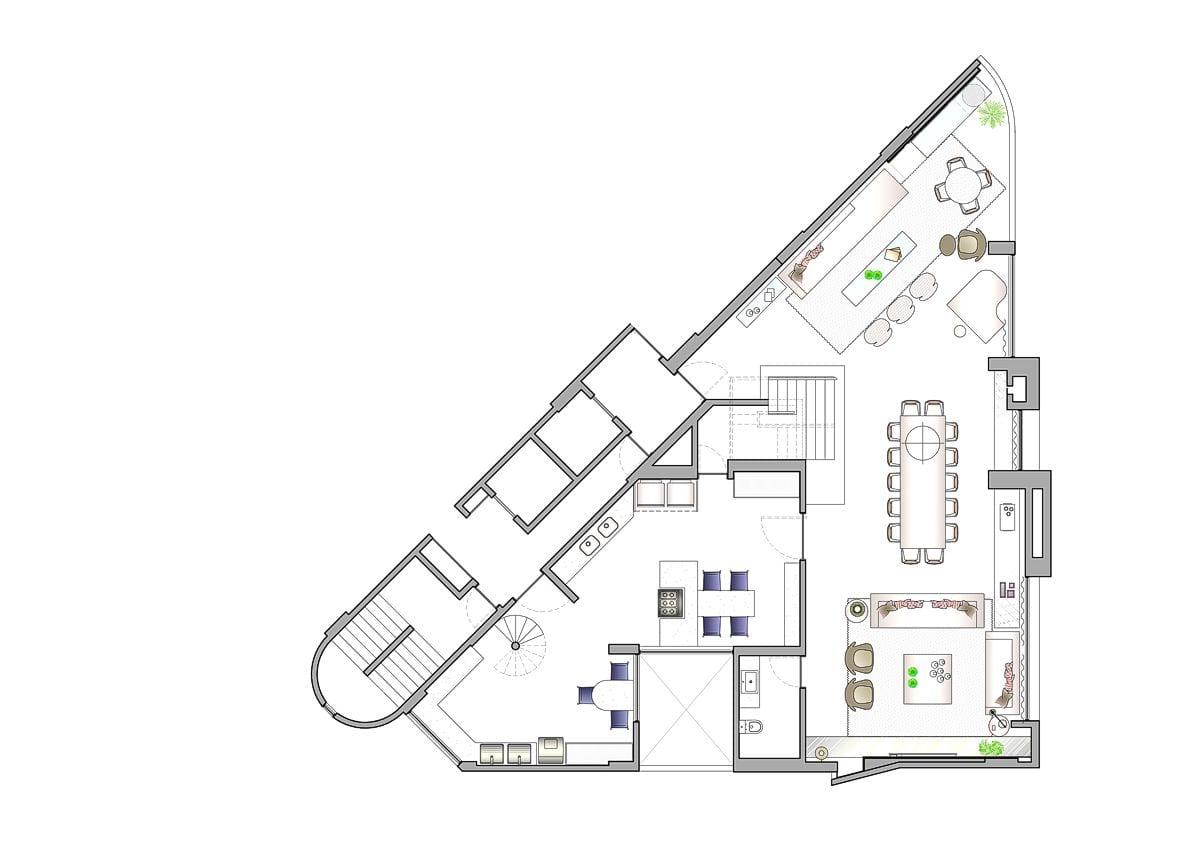 a planta baixa do andar inferior  —  após as obras