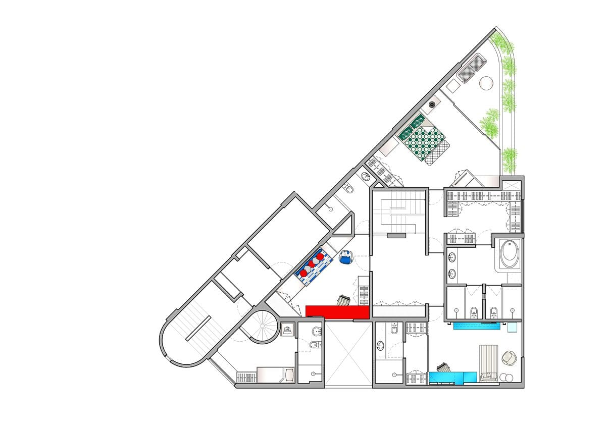 a planta baixa do andar superior  —  após as obras