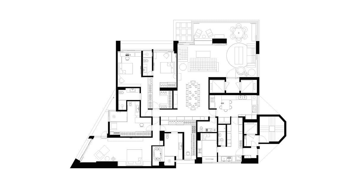 a planta baixa  —  a área é de 280.00 m2