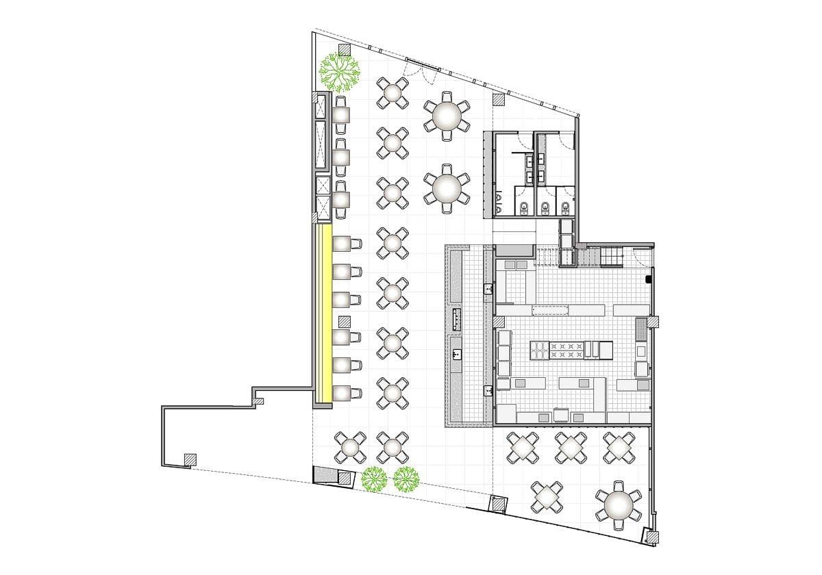 a planta baixa  —  a área é de 420.00 m2