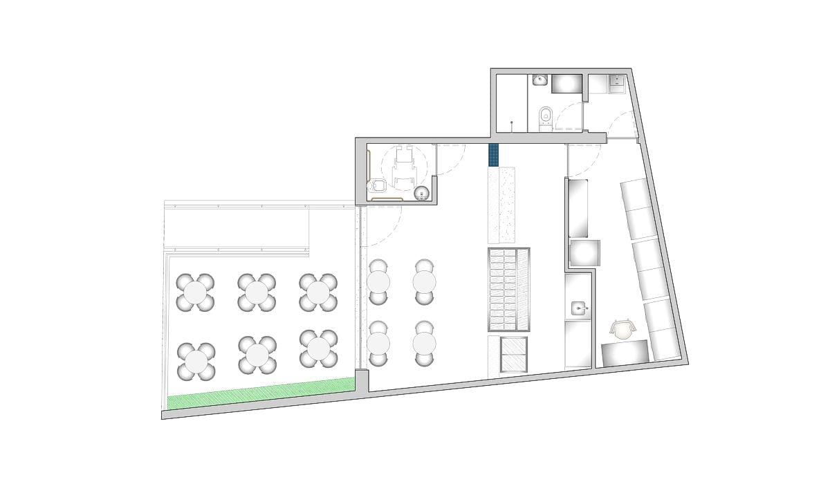 a planta baixa  —  Fri-Sabor Madalena  —  a área é de 85.00 m2