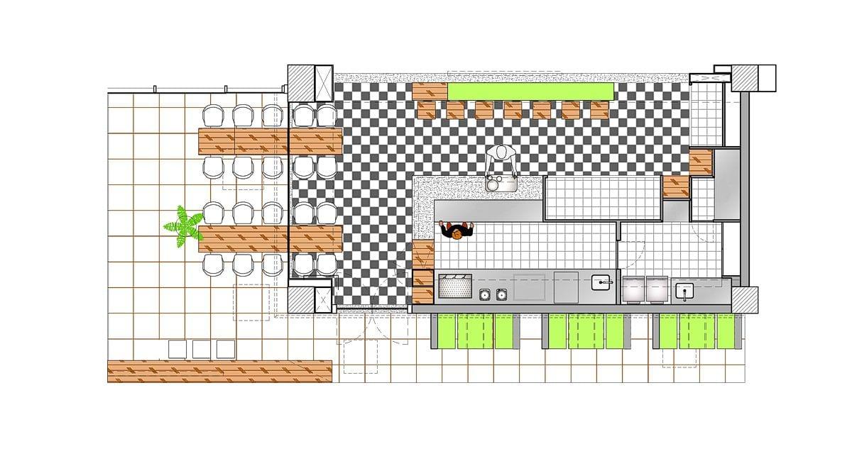 a planta baixa  —  a área é de 94.00 m2